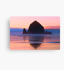 Summer Sunset at Haystack Rock Canvas Print