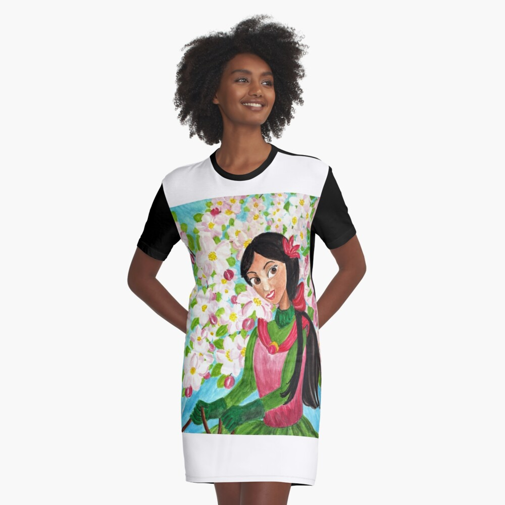 Princess Precious - In the Spring - Scarf and Clothing Graphic T-Shirt Dress