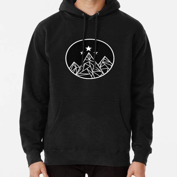 Mountains and Stars - White Outline Pullover Hoodie