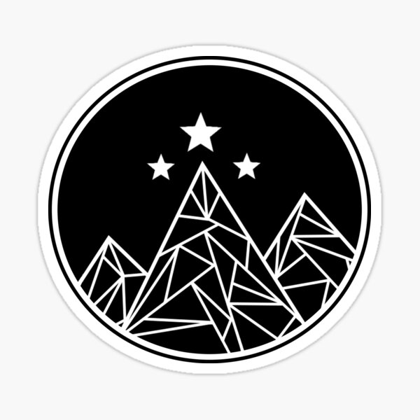 Mountains and Stars - White Outline Sticker