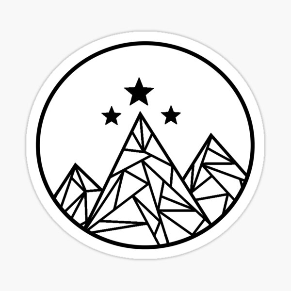 Mountains and Stars - Black Outline Sticker