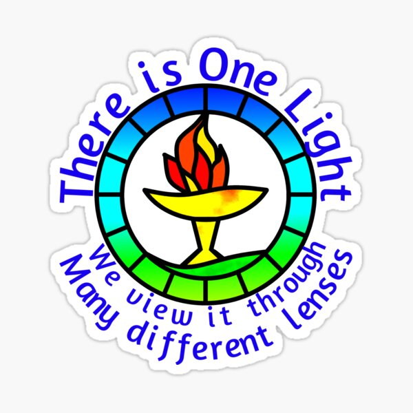 Unitarian-Universalism in a nutshell (Blue Text) Sticker