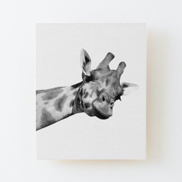 Black and White Giraffe Wood Mounted Print