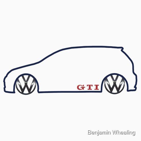 Vw Gti Mkv Silhouette Dark Prnt A T Shirt Of Classic Car