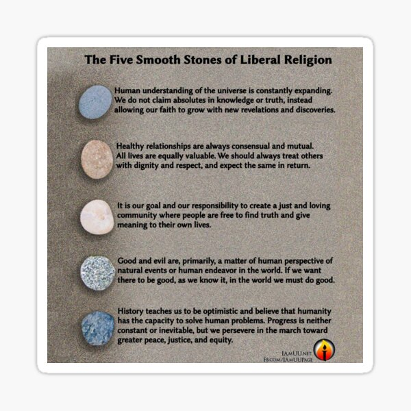 5 Smooth Stones of Liberal Religion Sticker