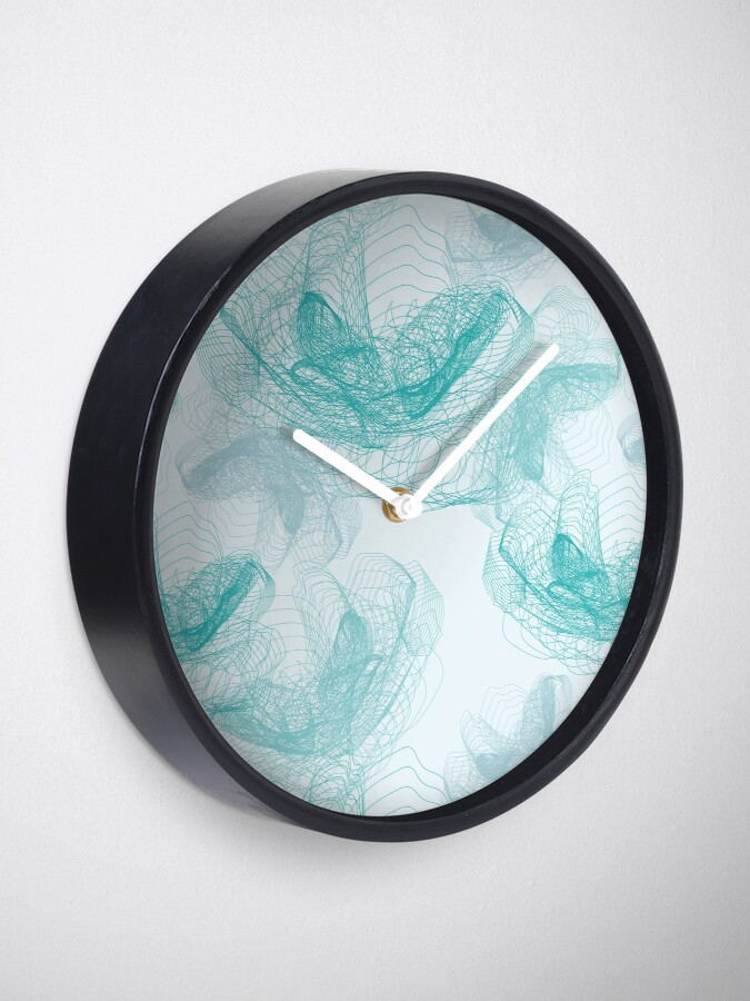 Alternate view of Feathery rose lotus pattern turquoise, teal and aqua Clock