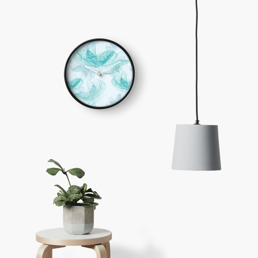 Feathery rose lotus pattern turquoise, teal and aqua Clock