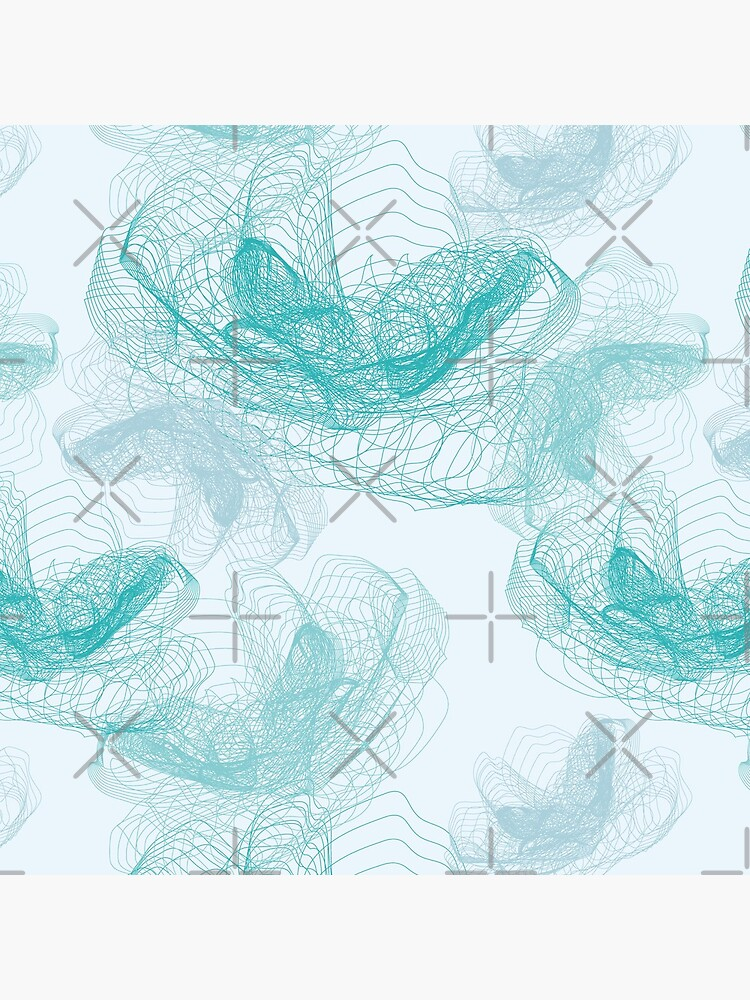 Feathery rose lotus pattern turquoise, teal and aqua by nobelbunt