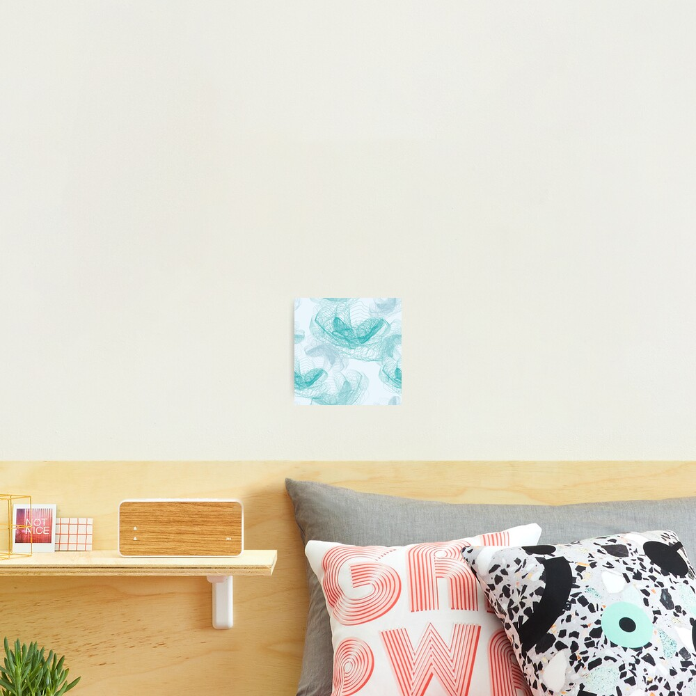 Feathery rose lotus pattern turquoise, teal and aqua Photographic Print