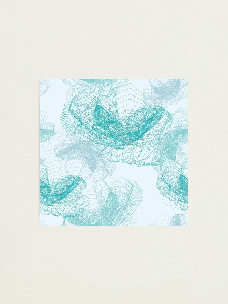 Alternate view of Feathery rose lotus pattern turquoise, teal and aqua Photographic Print