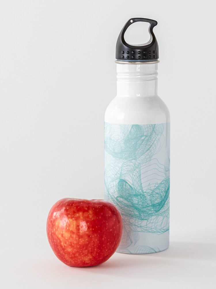Alternate view of Feathery rose lotus pattern turquoise, teal and aqua Water Bottle
