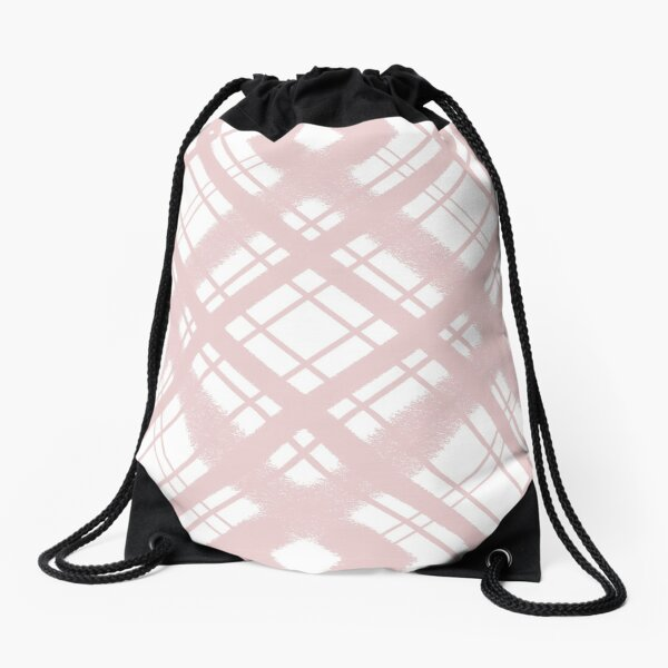Pastel Pink Plaid Chalk Graphic Design Pattern Drawstring Bag