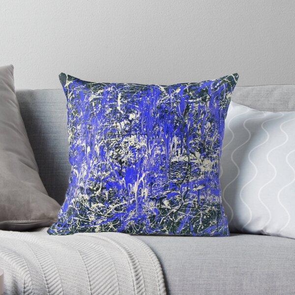 Abstract Jackson Pollock Painting Original Art Titled: Blue Dance Throw Pillow