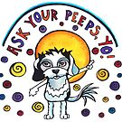 Ask Your Peeps, Yo! Cute Dog Watercolor Illustration by mellierosetest