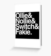 Tarjeta de felicitación Ollie Nollie Switch Fakie (Black)