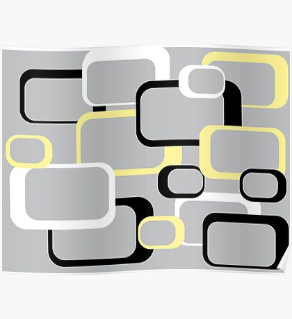 Yellow Retro Squares on a Gray Background Poster