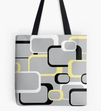 Yellow Retro Squares on a Gray Background Tote Bag