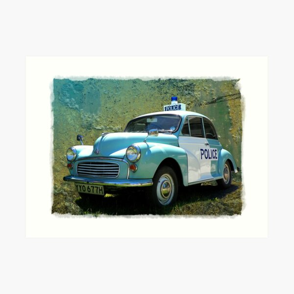 Morris Minor Police Car in Art Art Print