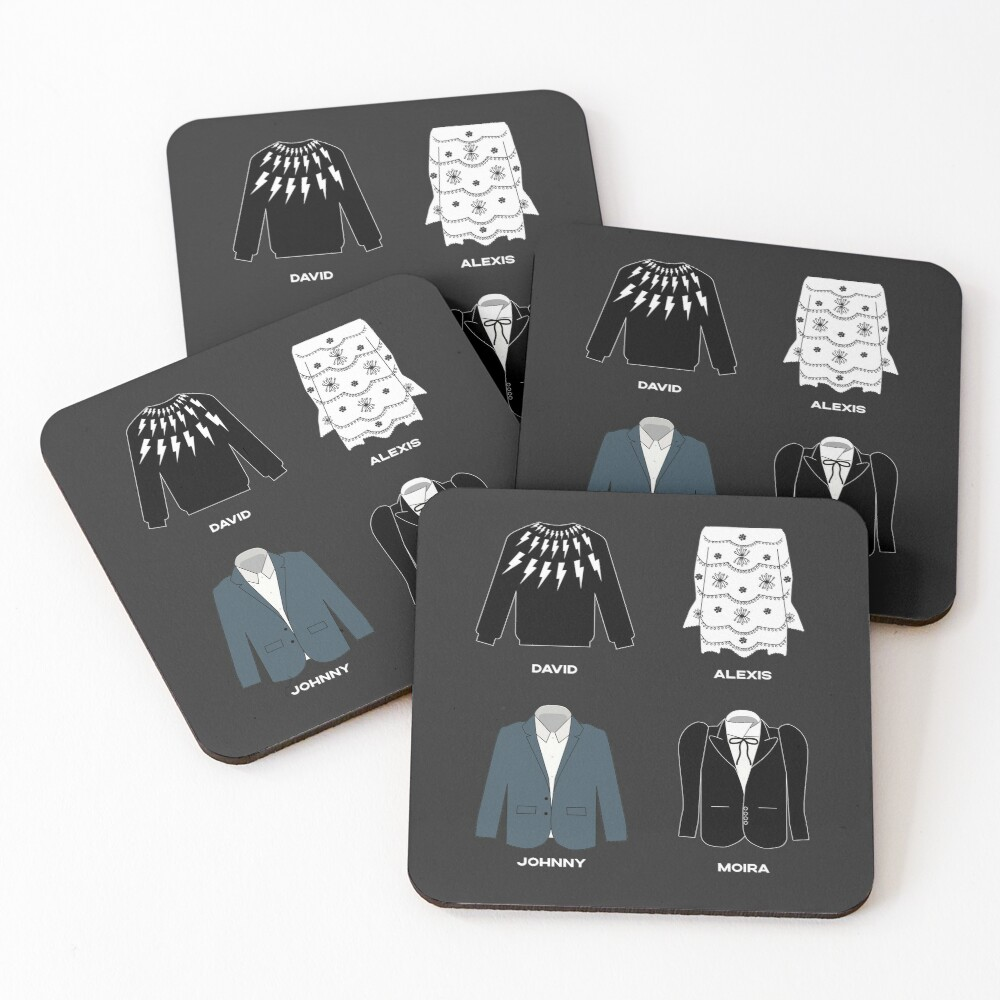Schitt's Creek Iconic Costumes for David Rose, Johnny Rose, Moira Rose and Alexis Rose. Coasters (Set of 4)