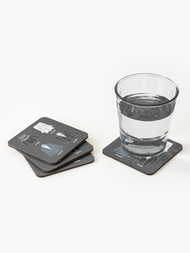 Alternate view of Schitt's Creek Iconic Costumes for David Rose, Johnny Rose, Moira Rose and Alexis Rose. Coasters (Set of 4)