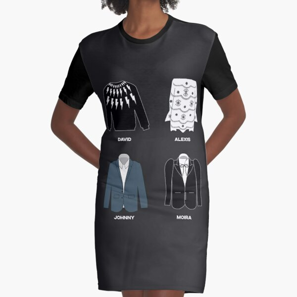 Schitt's Creek Iconic Costumes for David Rose, Johnny Rose, Moira Rose and Alexis Rose. Graphic T-Shirt Dress