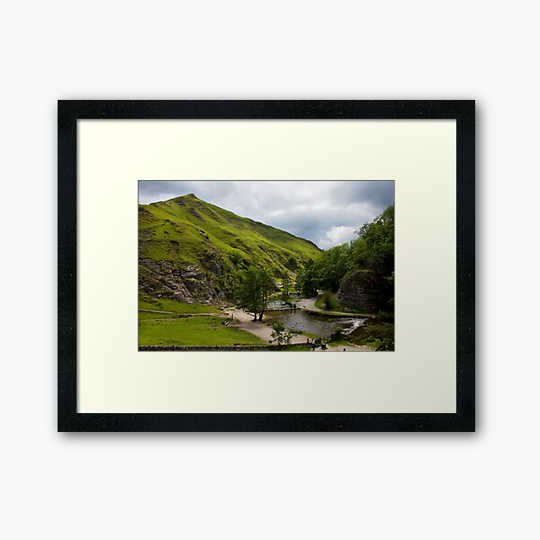 Dovedale Stepping Stones and Thorpe Cloud. Framed Art Print
