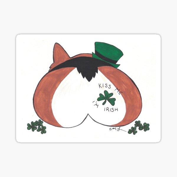 Kiss Me I'm Irish- Corgi Butt Sticker