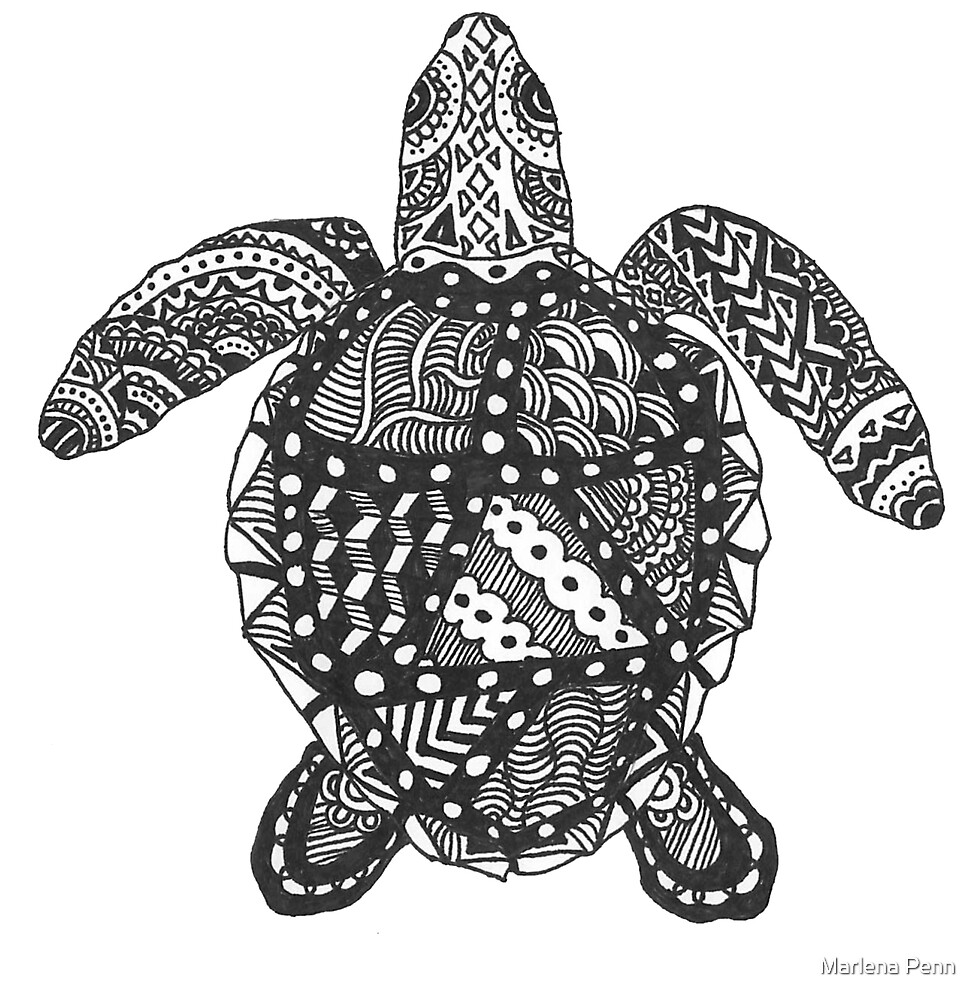 Quot Sea Turtle Zentangle Quot By Marlena Penn Redbubble