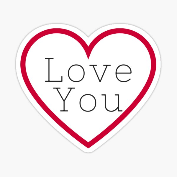 Love You in Red Heart Sticker