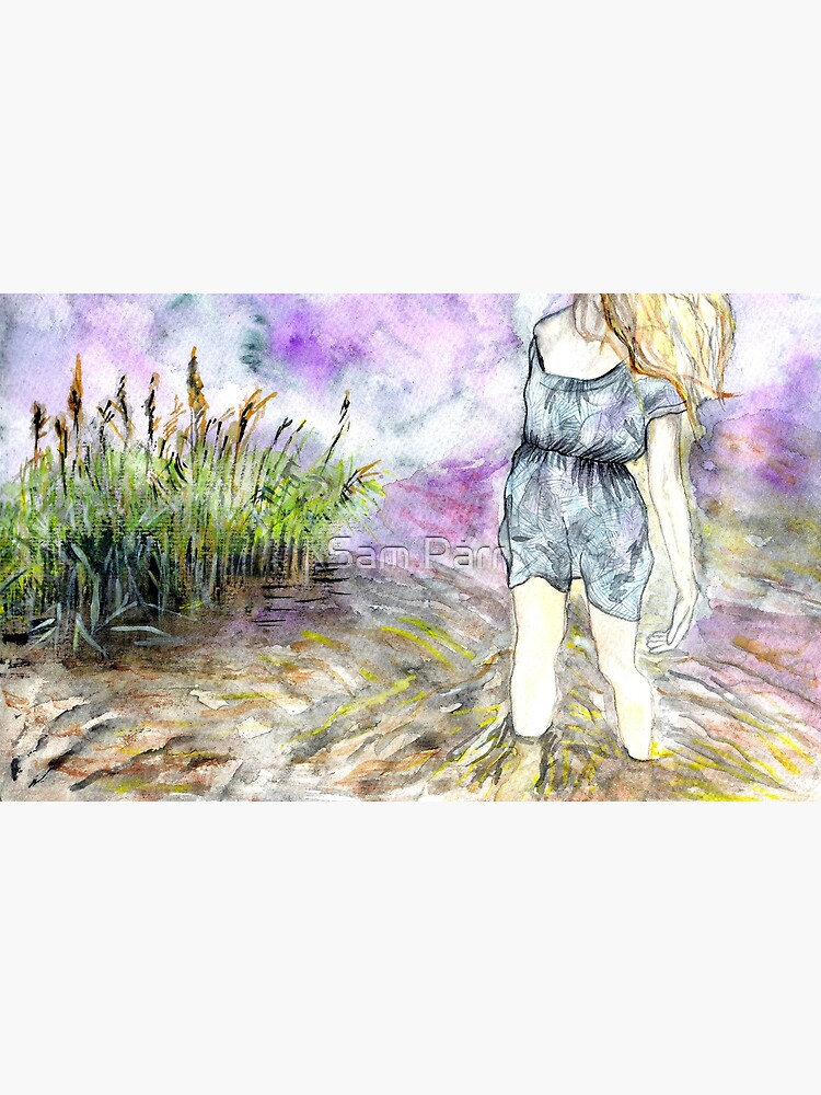 Watercolour landscape with woman by SamJane