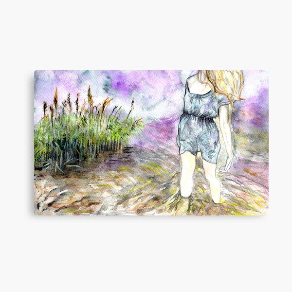 Watercolour landscape with woman Canvas Print