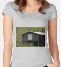 Kentucky Barn Quilt - Snow Crystals Women's Fitted Scoop T-Shirt
