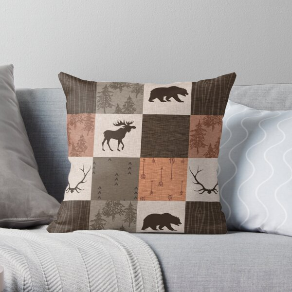 woodland patchwork - rust/brown Throw Pillow