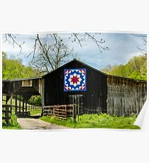 Kentucky Barn Quilt - Carpenters Wheel Poster