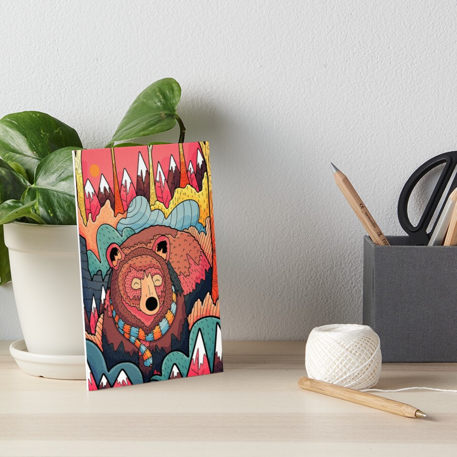 Winter bear forest Art Board Print