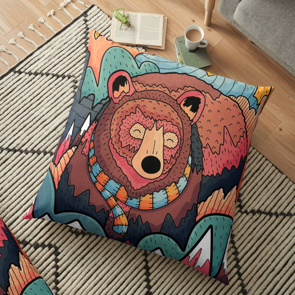 Winter bear forest Floor Pillow