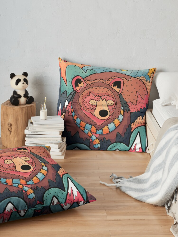 Alternate view of Winter bear forest Floor Pillow