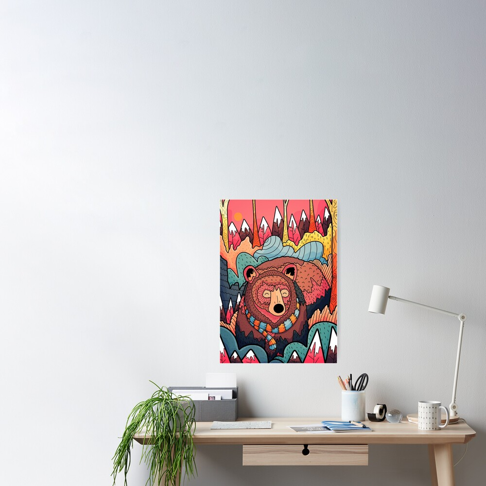 Winter bear forest Poster