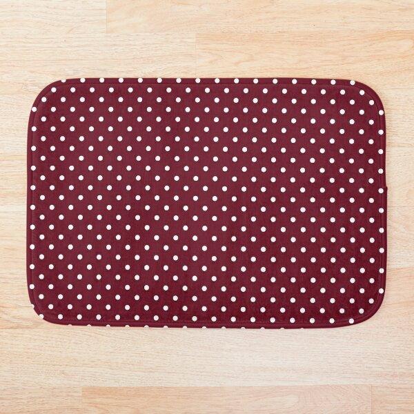 Burgundy and White Polka Dot Pattern Bath Mat