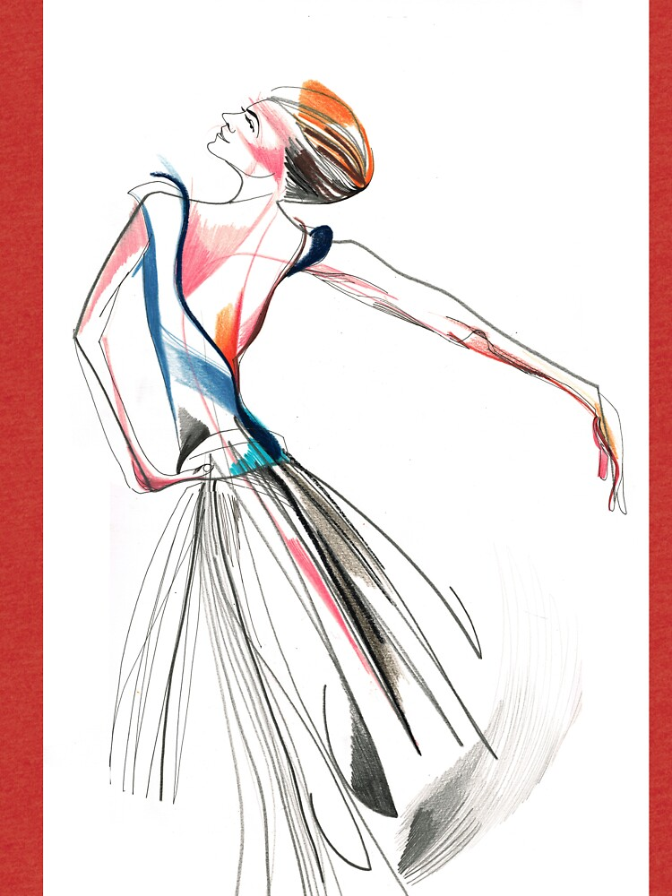 Original Ballet Dance Drawing – Watercolor and Ink on Paper  by CatarinaGarcia