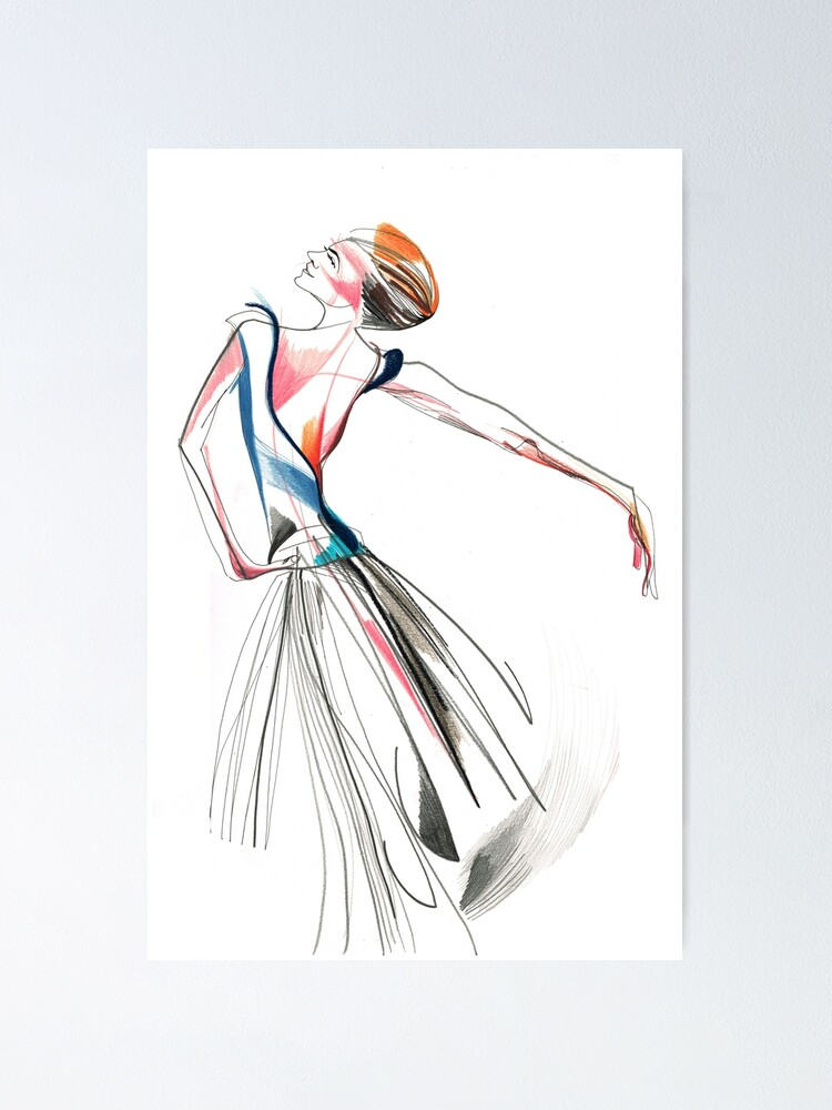 Original Ballet Dance Drawing Watercolor And Ink On Paper Poster By Catarinagarcia Redbubble