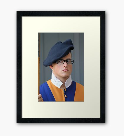 Distracted Vatican Guard Framed Print