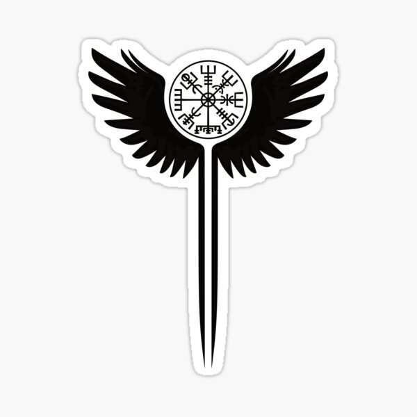 Valkyrie wings and Vegvisir Sticker