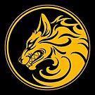 Knurrender gelber und schwarzer Wolfsrudel von jeff bartels