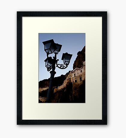 Amalfi Coast Street Light Framed Print