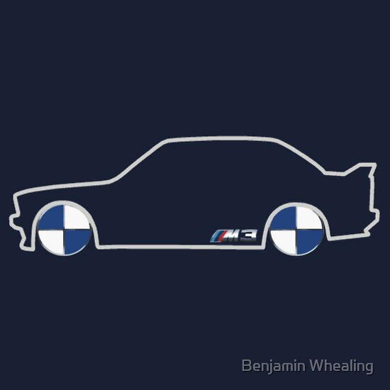TShirtGifter presents: BMW M3 Silhouette with Badge rims - dark