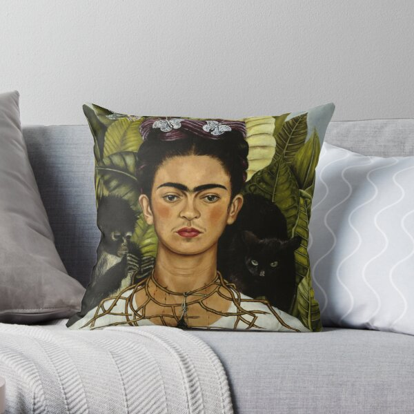 Frida Kahlo's self portrait with monkey and cat Throw Pillow