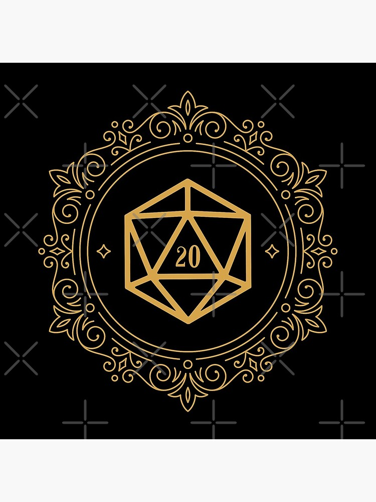 Polyhedral D20 Dice Monogram Bronze Tabletop RPG by pixeptional