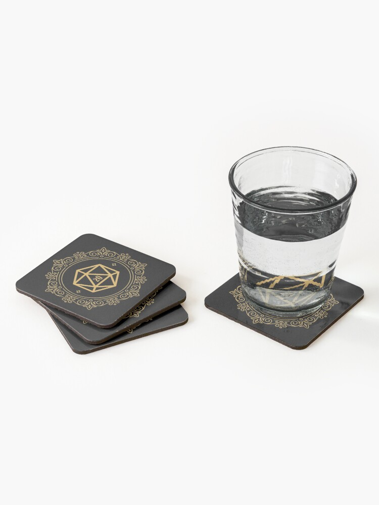 Alternate view of Polyhedral D20 Dice Monogram Bronze Tabletop RPG Coasters (Set of 4)