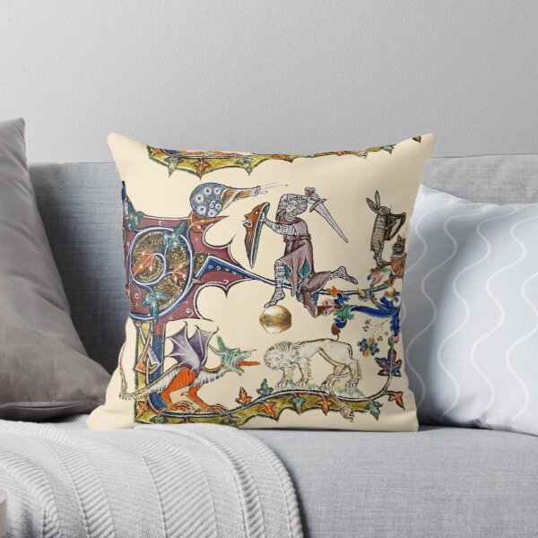 MEDIEVAL KNIGHT FIGHTING SNAIL,DRAGON AND LION Throw Pillow